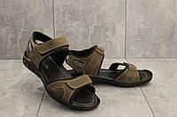 Мужские сандали кожаные летние оливковые Yuves 310, фото 1