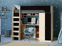 Двухэтажная кровать-чердак КЧО 146 с угловым столом и шкафом. Спальное место 80х190