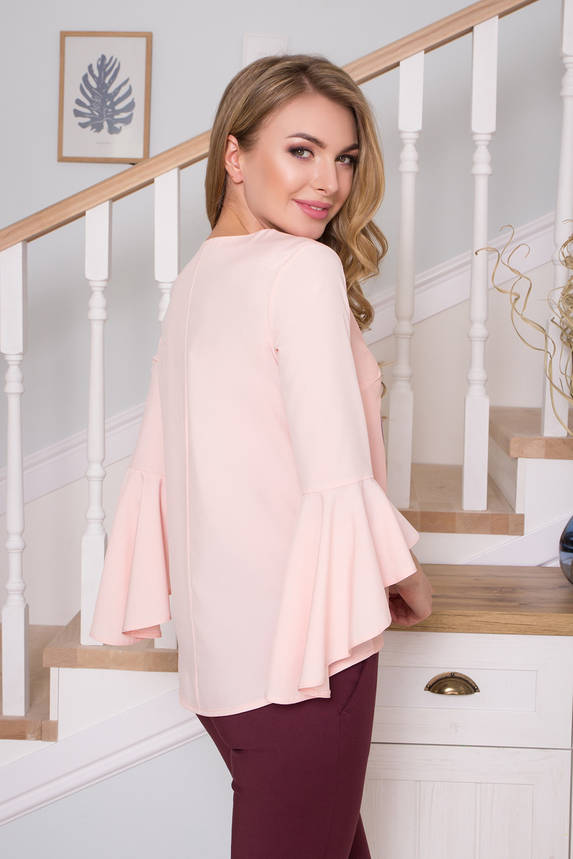 Модная блузка с принтом светло-розовая, фото 2