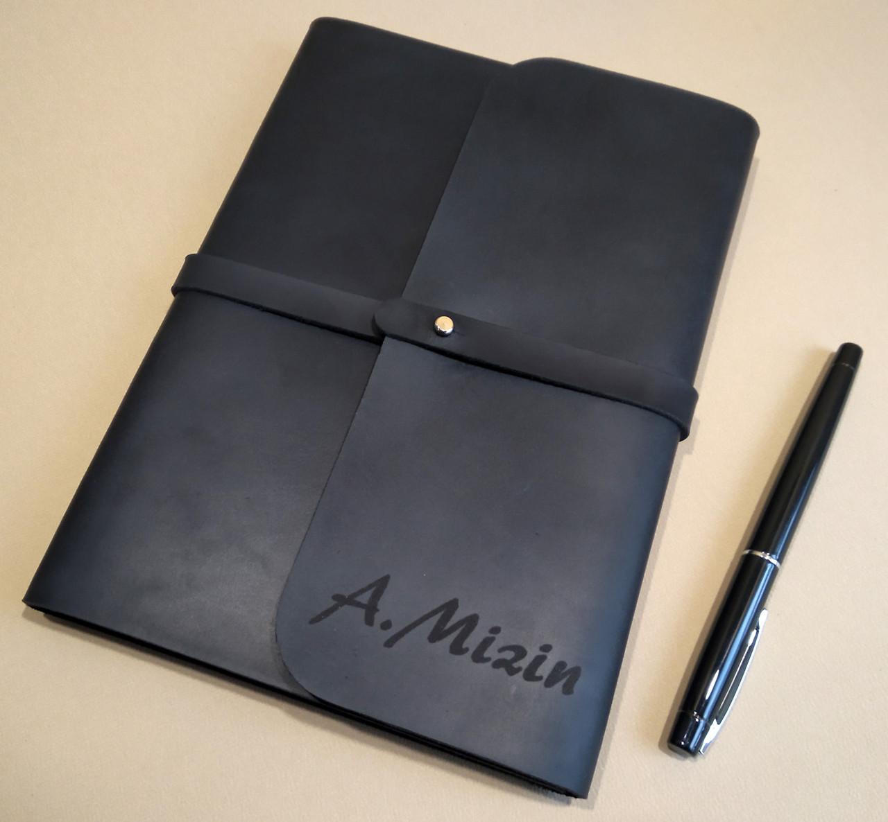Софтбук А5. Блокнот в кожаной обложке ручной работы с лазерной гравировкой инициалов (имени).
