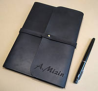 Софтбук А5. Блокнот в кожаной обложке ручной работы с лазерной гравировкой инициалов (имени)., фото 1