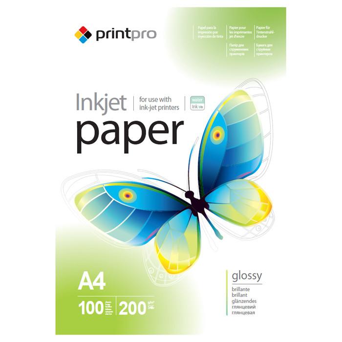Глянцевий фотопапір PrintPro 200гр, А4, 100 аркушів