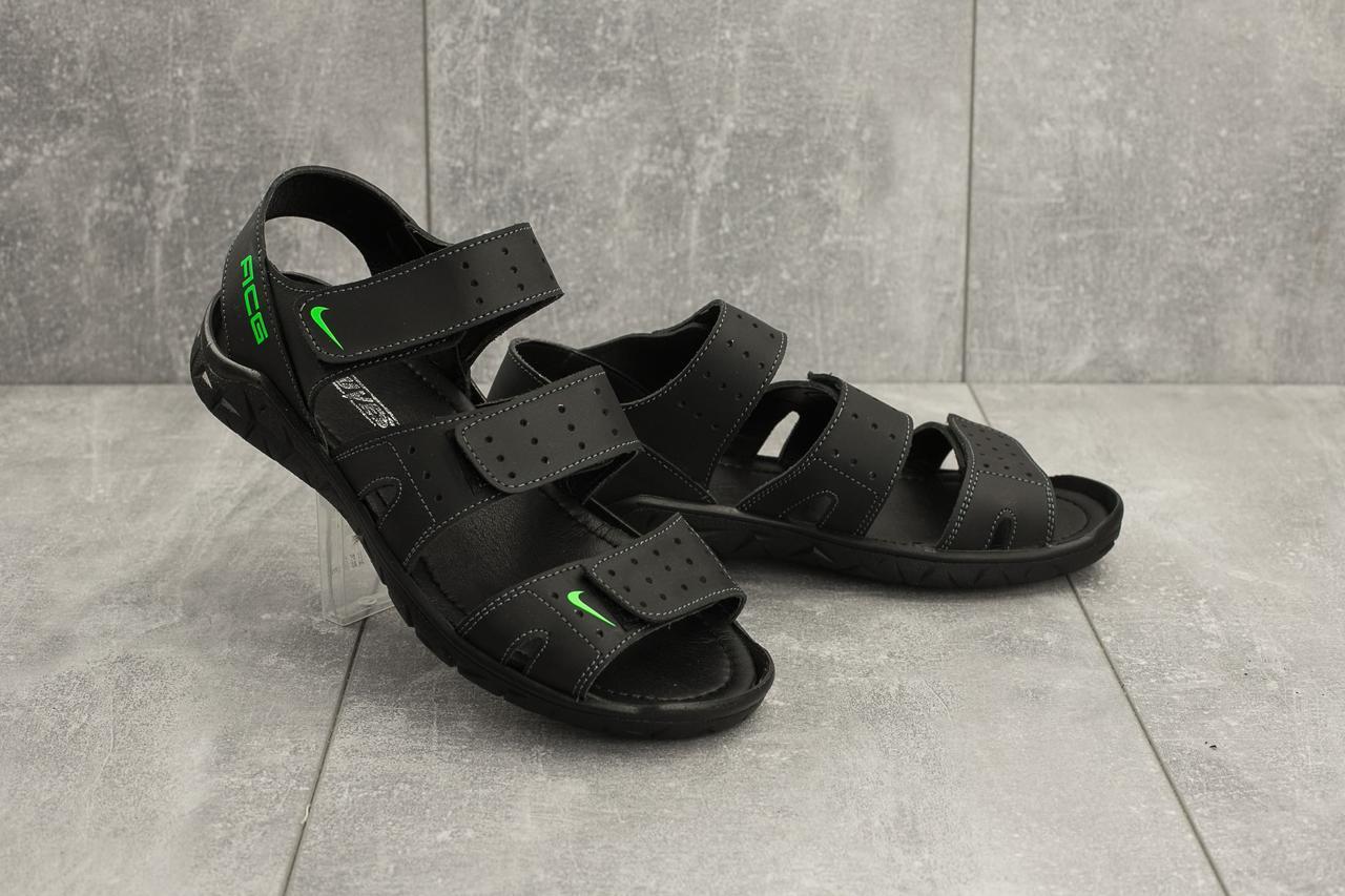 Мужские сандали кожаные летние черные Yuves C21