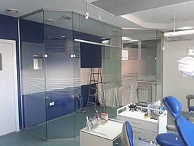 31 Раздвижная дверь из стекла - Стеклянная раздвижная перегородка из прозрачного каленного стекла с рисунком