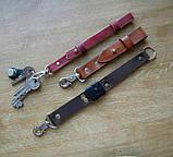 Кожаный брелок для ключей c карабином, фото 3