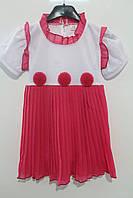 Летнее платье для девочек 104, 110, 116, 122 рост. Цвет розовый, коралловый