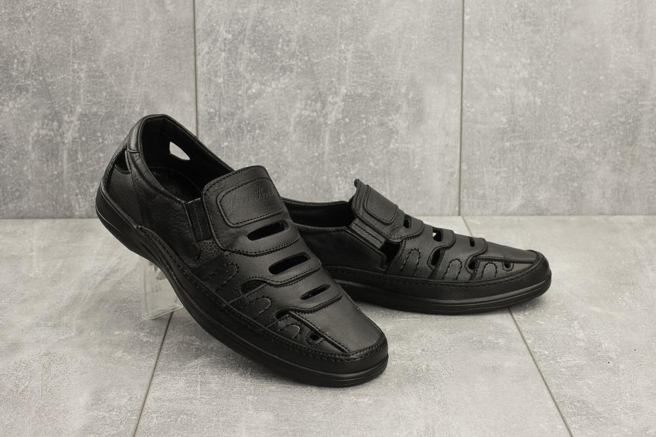 Мужские сандали кожаные летние черные Vankristi 1151