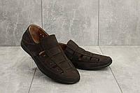Босоножки мужские Vankristi 1161 коричневые (натуральная замша, лето), фото 1