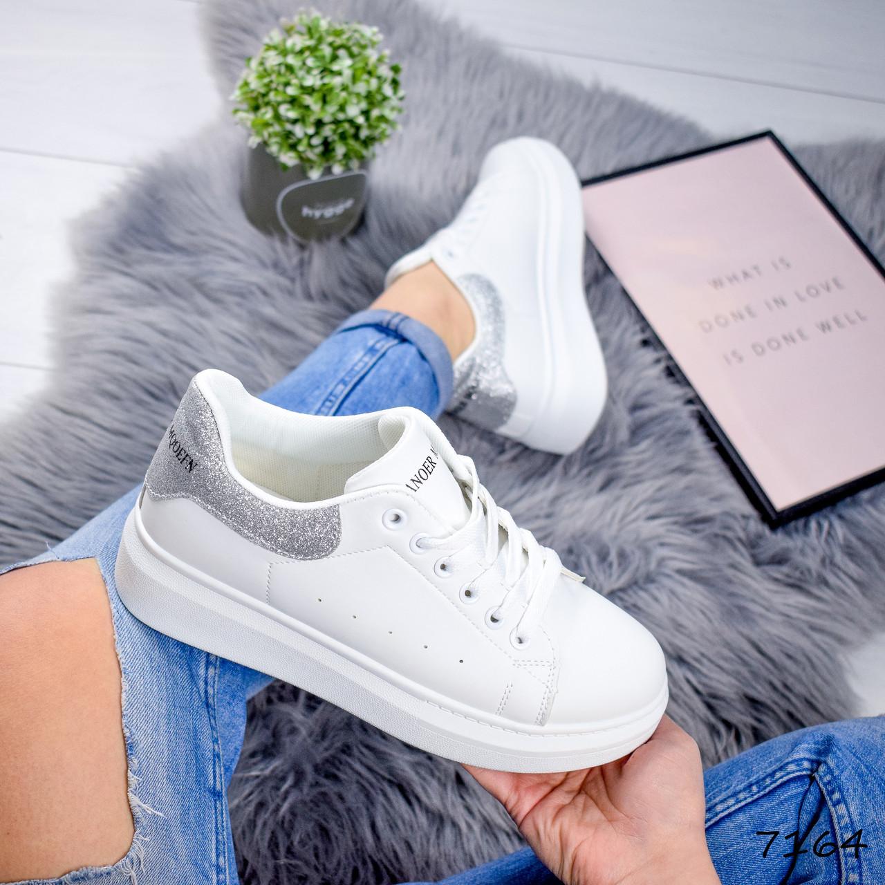 Кроссовки женские в стиле MQ белый + серебро 7164