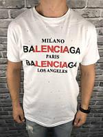 Брендовая Мужская Футболка Balenciaga Белая Качество 100% Хлопок Стильная Баленсиага копия