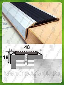 Противоскользящая угловая накладка на ступени УЛ 151. Без покрытия, 3.0м