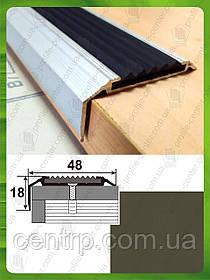Противоскользящая угловая накладка на ступени УЛ 151. 2.0м, Бронза оливка (краш)