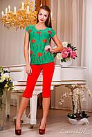 Яркая весеняя футболка, цветочный принт, бирюза, белый, красные цветы, фото 1