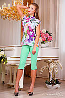 Елегантна блуза, шифонова, метелики, весняна, на гудзиках, нарядна блузка, фото 1
