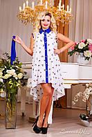 Яркое летнее платье, шифоновое, белое, цветочный принт, фото 1