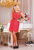 Летнее модное платье коралловое, фото 1