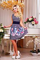 Красиве літнє плаття з квітковим малюнком, орхідеї, спідниця-кльош, фото 1