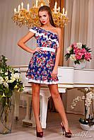 Коротке літнє плаття з вирізом, на одне плече, квітковий принт, фото 1