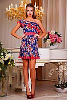 Короткое летнее  платье с вырезом, на одно плечо, цветочный принт, фото 1