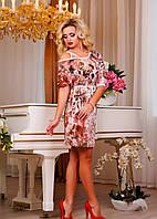 Платье в цветочный принт из микромасла, фото 1