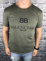 Молодежная Мужская Футболка Balenciaga Оливковая 100% Хлопок Модная Топ VIP Баленсиага реплика
