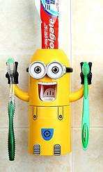 Дозатор для зубной пасты Миньон диспенсер автоматический, настенный держатель для 2 зубных щеток