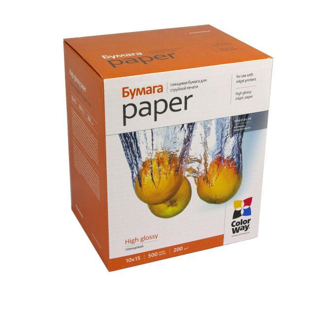 ColorWay глянцевая фотобумага 200гр, 10x15, 500 листов
