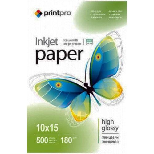Глянцевий фотопапір PrintPro 180гр, 10x15, 500 аркушів