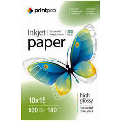 PrintPro глянцевая фотобумага 180гр, 10x15, 500 листов