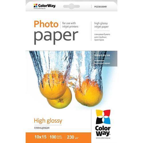 ColorWay глянцевий фотопапір 230гр,10x15, 100 аркушів