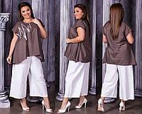 Женский стильный брючный костюм  НИ0187/186 (бат), фото 1