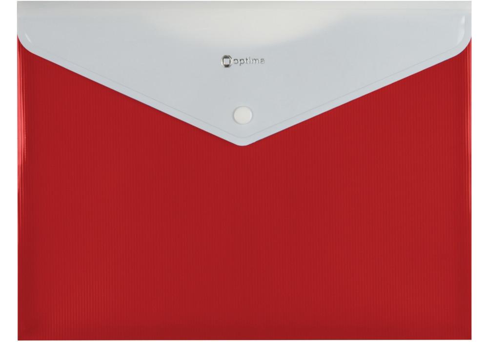 Папка-конверт А4 на кнопке с расширением, ПОЛОСА, красная O31315-03