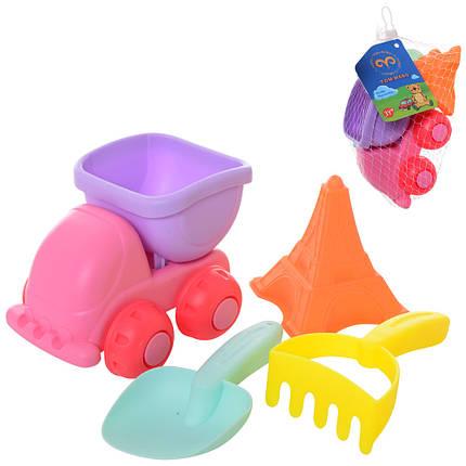 Набор для песочницы силиконовый: машинка самосвал, лопатка, грабли, формочка, фото 2
