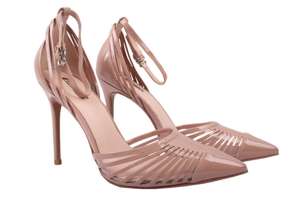 Туфли женские летние на шпильке Basconi лаковая натуральная кожа, цвет капучино