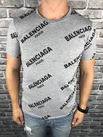 Красивая Мужская Футболка Balenciaga серая Качество 100% Хлопок Стильная Баленсиага реплика