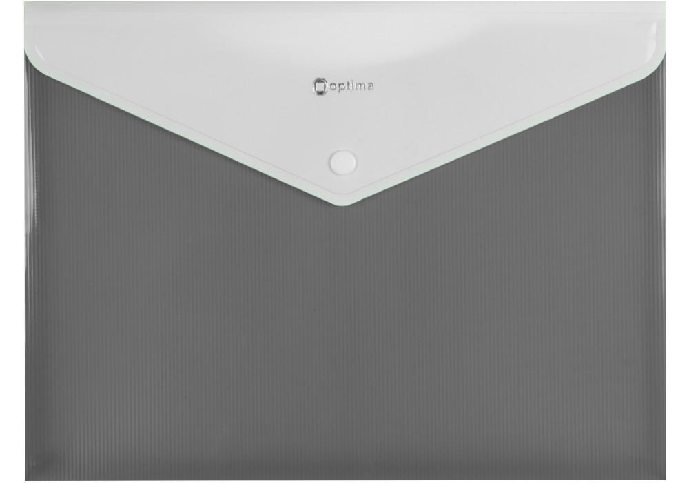 Папка-конверт А4 на кнопке с расширением, ПОЛОСА, серая O31315-10