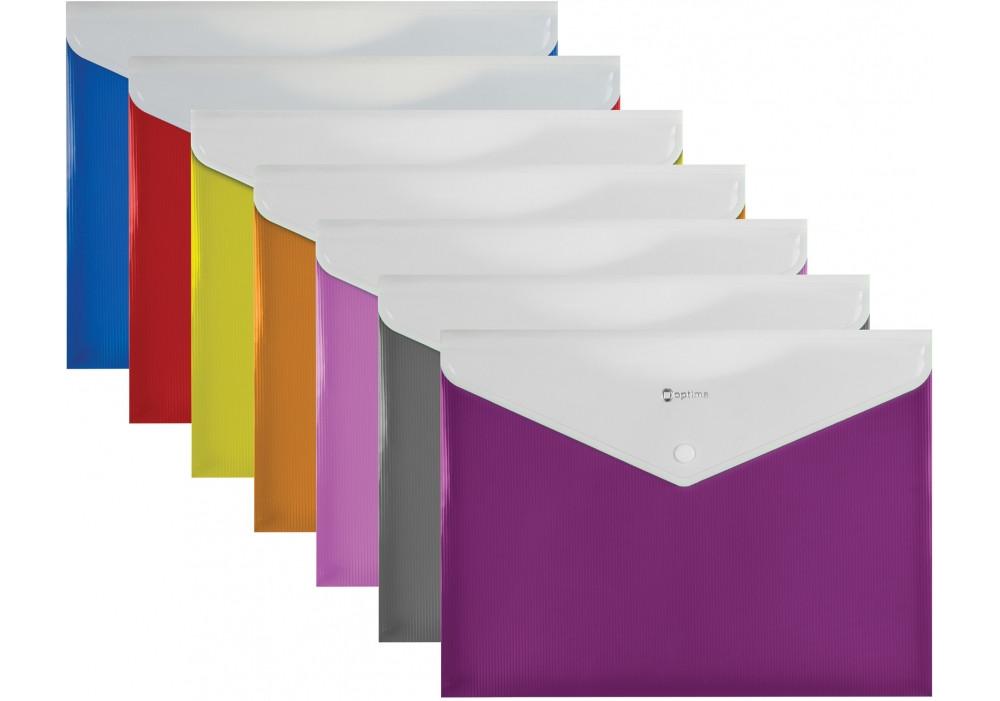Папка-конверт А4 на кнопке с расширением, ПОЛОСА, ассорти O31315-99