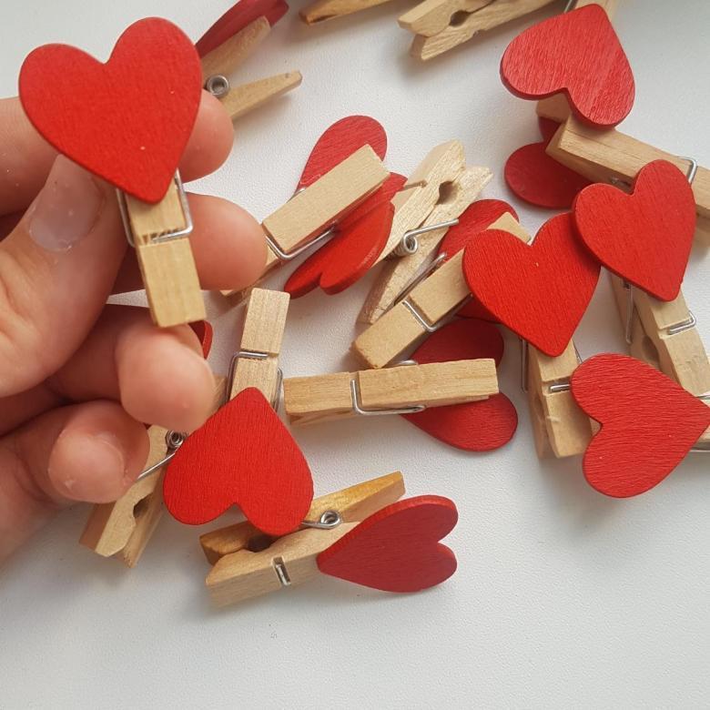 Деревянная прищепка сердце  35х10мм  маленькая