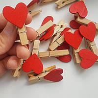 Деревянная прищепка сердце  35х10мм  маленькая, фото 1