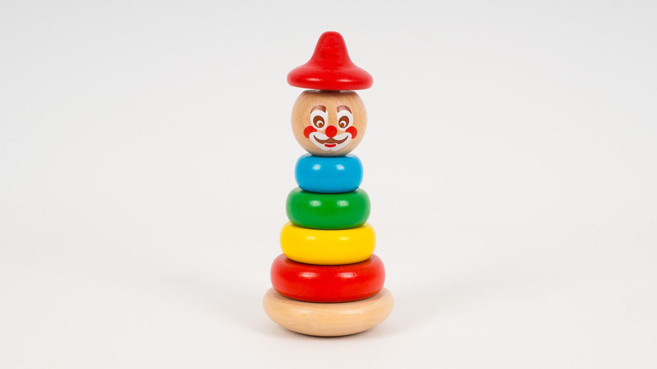 Деревянная игрушка пирамидка Клоун. 4 кольца. 2 вида