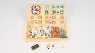 Деревянная игрушка Набор первокласника. Палочки и цифры. Досточка для рисования