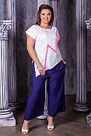 Женский модный брючный костюм  НИ0186/0188 (бат), фото 1