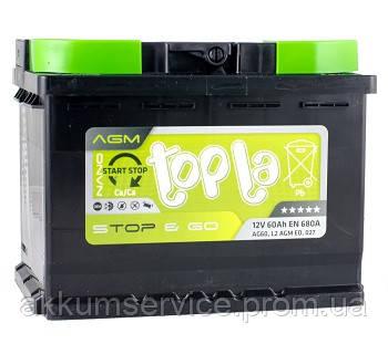 Аккумулятор автомобильный Topla Top AGM Stop & Go 60AH R+ 680A (L2 AGM ED)