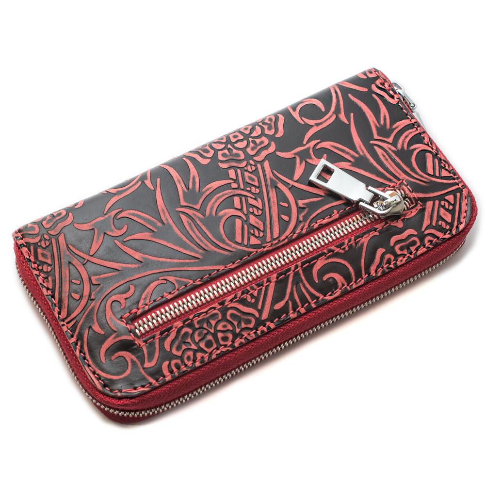 Женский кожаный кошелек на молнии LIKA-2 (бордовый цветочек)