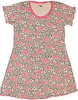 Ночнушка в розовые и серые цветочки для девочки, рост 98 см, ТМ Фламинго