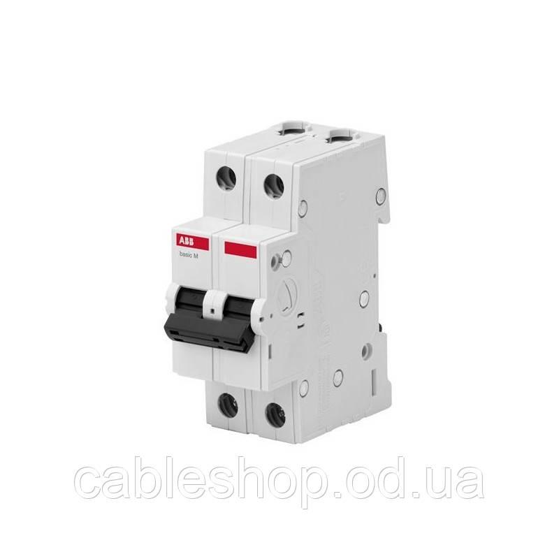 """Автоматический выключатель ABB Basic M, 6А, тип """"С"""", 2-полюса, 4.5кА"""