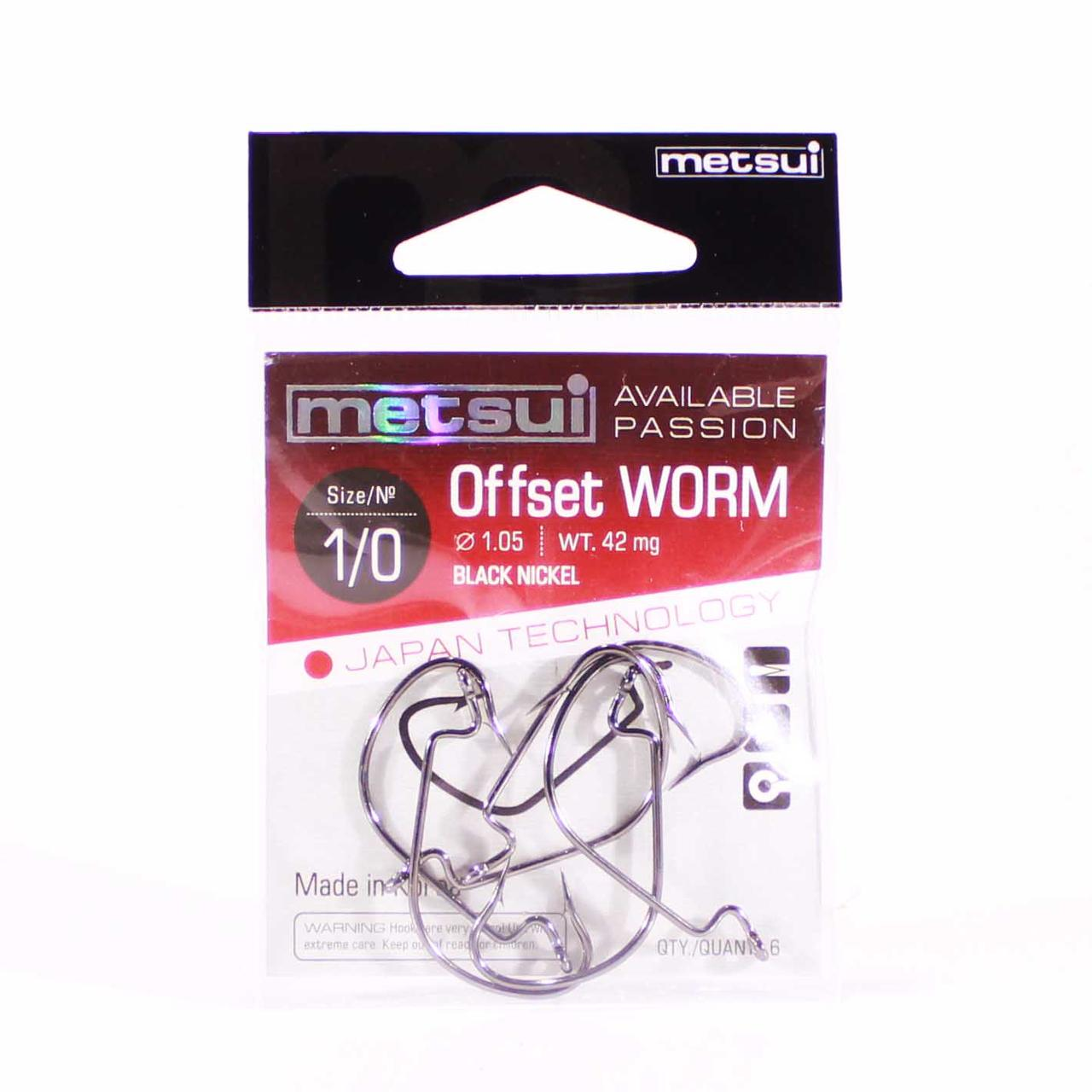 Крючок METSUI Offset Worm №1/0 офсетный (6 шт.)