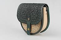 """Кожаная женская сумка, сумка через плечо, мини сумочка с тиснением """"Дубок"""", бежево-зеленая, фото 1"""