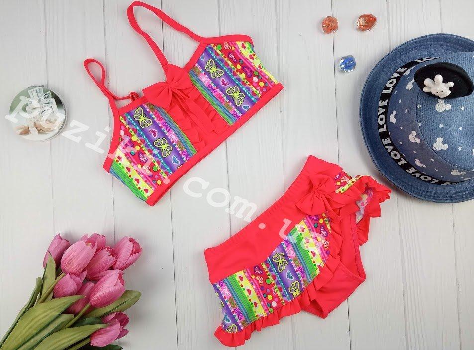 Раздельный красный купальник с орнаментом и рюшами для девочки 4-12 лет