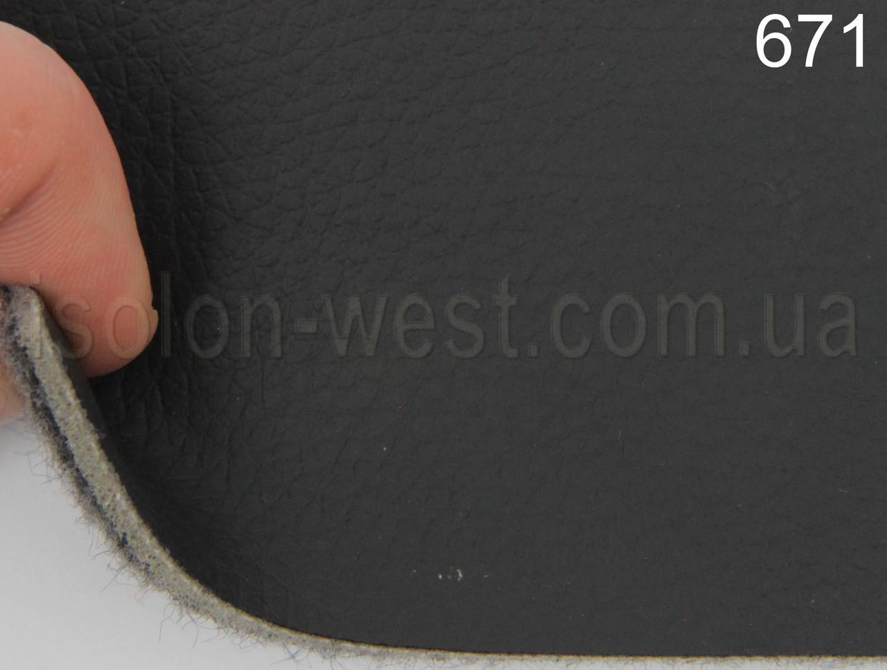 Авто кожзам черный на поролоне и войлоке 3,8 мм. 671